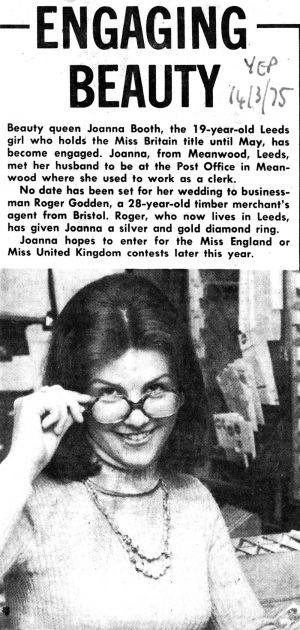 Engaging Beauty, Miss Britain, Yorkshire Evening Post 14th March 1975