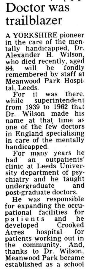 Alexander Wilson, Yorkshire Evening Post   24th June 1982