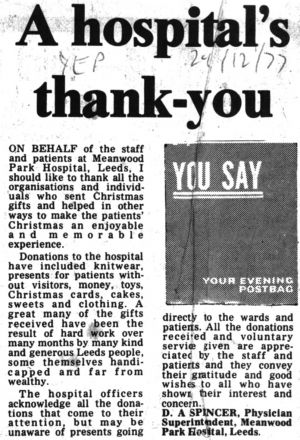 Thankyou! Yorkshire Evening Post 24th December 1977