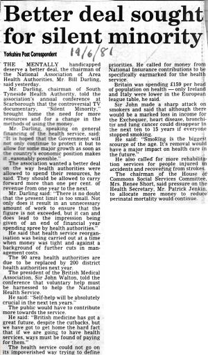 Silent Minority, Yorkshire Post 10th June 1981