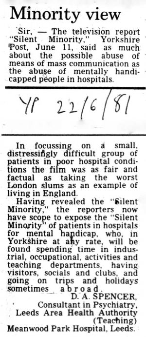 Silent Minority, Yorkshire Post 22nd June 1981