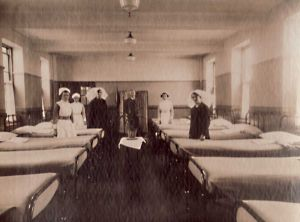 Westwood Hospital, Bradford.  Opening on July 28,1933 the hospital comprised of 7 blocks.  The buildings were arranged in such a way that patients could be accommodated according to their mental abilities.