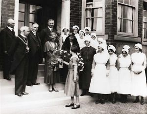 Westwood Hospital – official opening, 28th July 1933 L – R. Cllr J Wilson, Lord Mayor, Cllr H Hudson, Superintendent, Lady Mayoress, Mrs H Hudson, Matron and female staff.