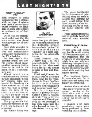 Out Of Sight, The Newspaper Review Feb 1993.