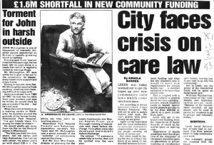 Torment For John, Institutionalised From 1964 To 1987 In Meanwood Park, Yorkshire Evening Post 25th March 1993
