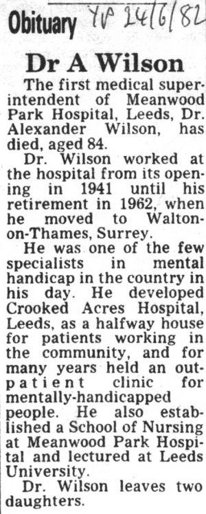 Dr Alexander H Wilson Obituary  24th June 1982