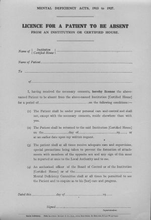 The following form was printed in 1943 and relates to the 1913 and 1927 Mental Deficiency Acts.